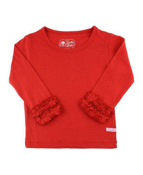 RuffleButts ~ Red Ruffled Long Sleeve Layering Tee