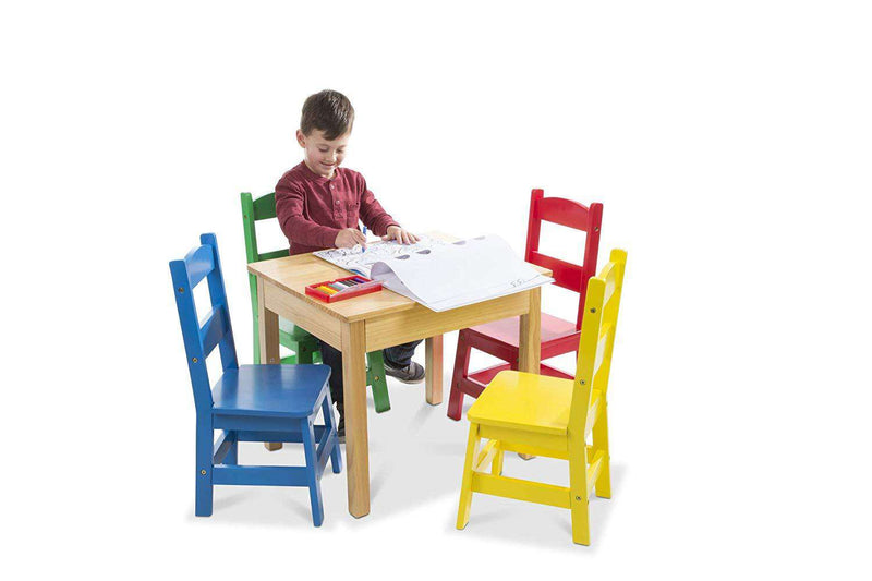 Melissa & Doug | Solid Wood Table & Chairs 5-Piece Set ~ Primary