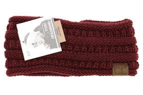 CC Beanie | Adult Solid Ribbed Ponytail Head Wrap ~ Maroon