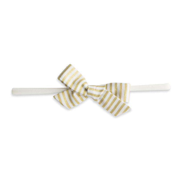 Baby Bling Bows | Cotton Print Bow Headband ~ Gold Stripe