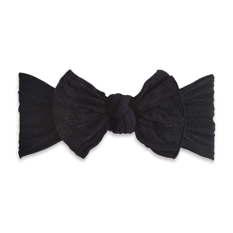 Baby Bling Bows | Cable Knit Knot Headband ~ Black