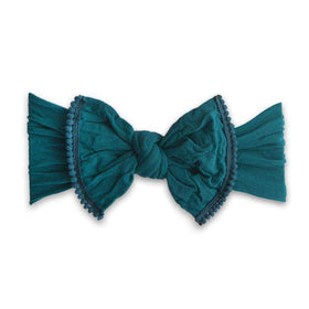 Baby Bling Bows | Trimmed Classic Knot Mini Pom ~ Emerald