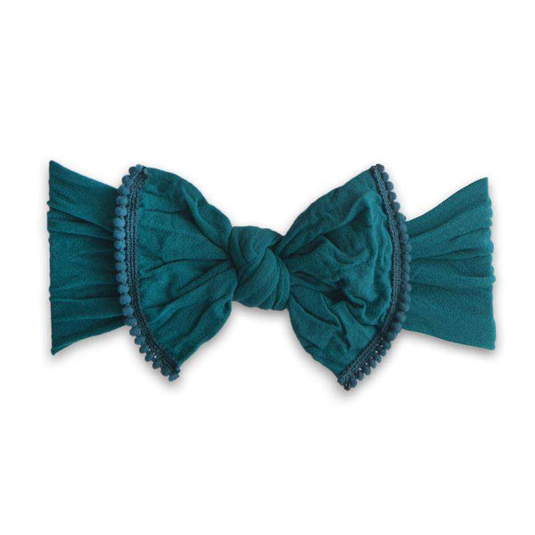 Baby Bling Bows | Classic Knot Mini Pom ~ Emerald