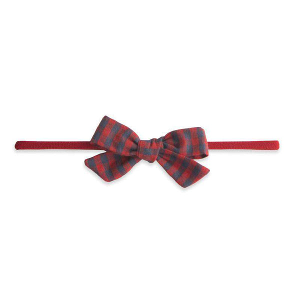 Baby Bling Bows | Cotton Print Bow Headband ~ Red / Charcoal Check