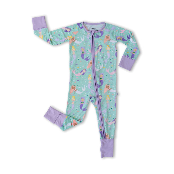 Little Sleepies - Mermaid Magic Bamboo Viscose Convertible Romper/Sleeper