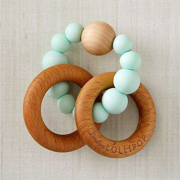 Loulou Lollipop | RATTLE Bubble Silicone Wood Teether ~ Mint
