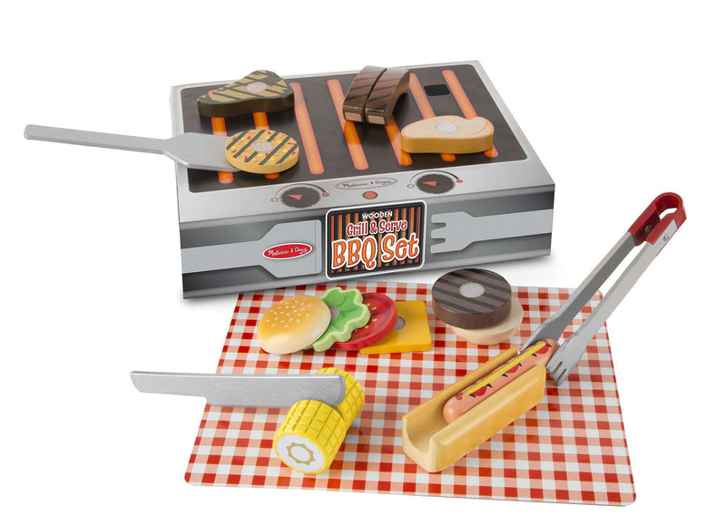 Melissa & Doug | Wooden Play Food | BBQ Grill Set