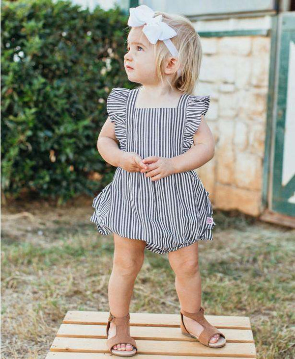 Ruffle Butts | Cross-Back Ruffle Romper ~ Navy Stripe