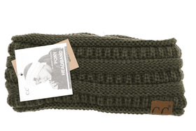 CC Beanie | Adult Solid Ribbed Ponytail Head Wrap ~ New Olive