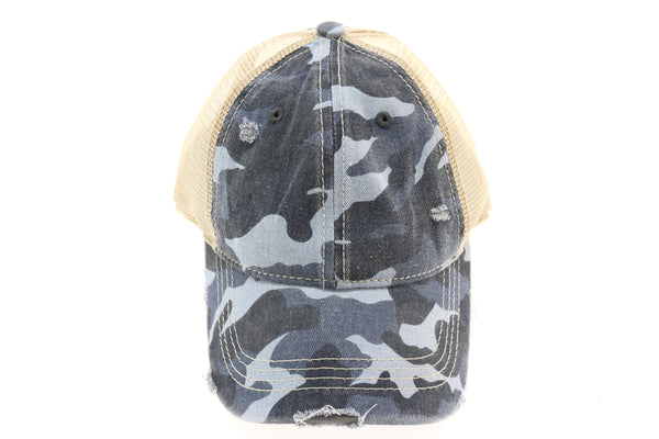 CC Beanie | Camo Mesh Back High Pony Hat ~ Blue