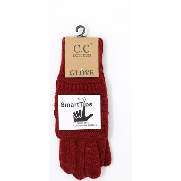 CC Beanie | Adult Metallic Cable Knit Gloves ~ Burgundy