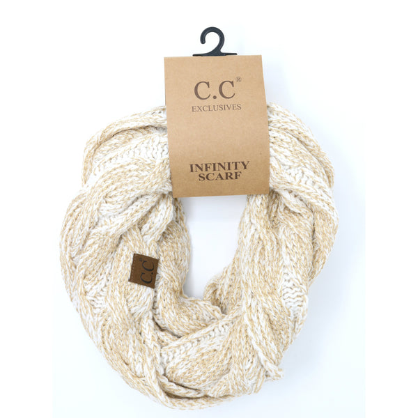CC Beanie | Adult Metallic Infinity Scarf ~ Ivory Gold