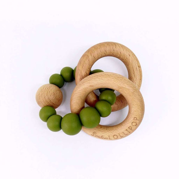 Loulou Lollipop | RATTLE Bubble Silicone Wood Teether ~ Olive Green