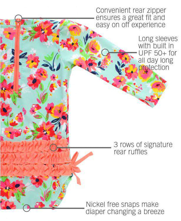 RuffleButts | One Piece Rash Guard ~ Painted Flowers