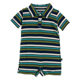 Kickee Pants Print Short Sleeve Polo Romper | Botany Grasshopper Stripe