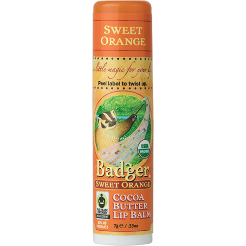 Badger Healthy Body Care ~ Organic Cocoa Butter Lip Balm - Sweet Orange