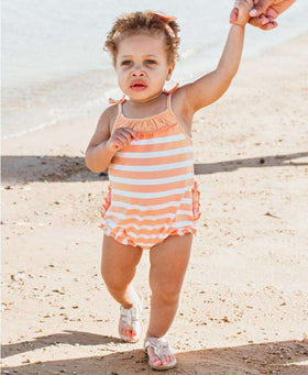 Ruffle Butts | Pom Pom Bubble Romper ~ Peach Stripe