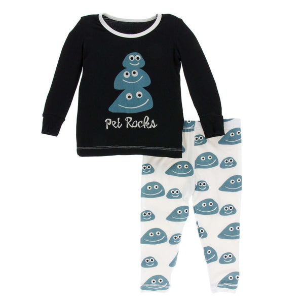 Kickee Pants Print Long Sleeve Pajama Set | Midnight Pet Rocks
