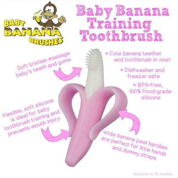 Baby Banana Infant Teething Toothbrush Pink