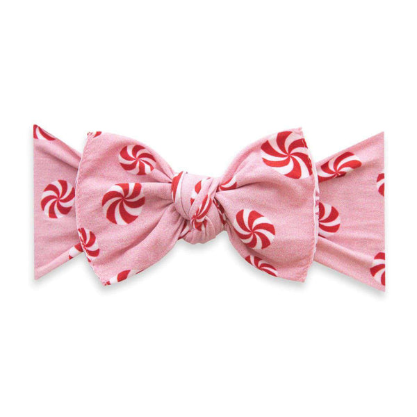 Baby Bling Bows | Holiday Collection Printed Knot ~ Pink Peppermint
