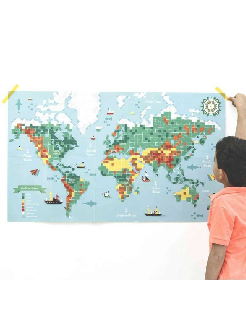 Poppik | Giant Poster + 1600 Stickers ~ World Map (7 Years +)