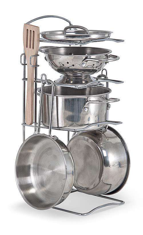 Melissa & Doug | Let's Play House! Stainless Steel Pots & Pans Play Set