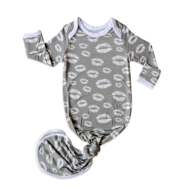 Little Sleepies - Grey Kisses Bamboo Viscose Infant Knotted Gown