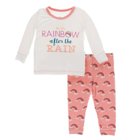 Kickee Pants Print Long Sleeve Pajama Set | Blush Rainbow