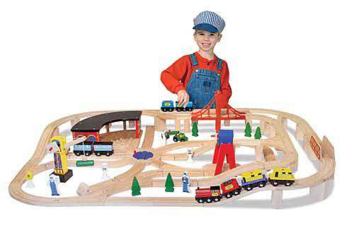 Melissa & Doug | Wooden Railway Set