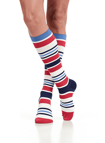 Women's Compression Knee-Highs | Fun Stripes Red & White (Nylon)