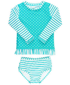 RuffleButts | Long Sleeve Rash Guard Bikini ~ Aqua Striped Polka