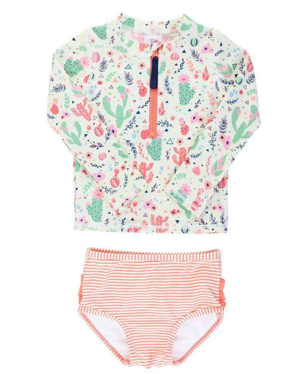 RuffleButts | Long Sleeve Rash Guard Bikini ~ Desert Blossoms