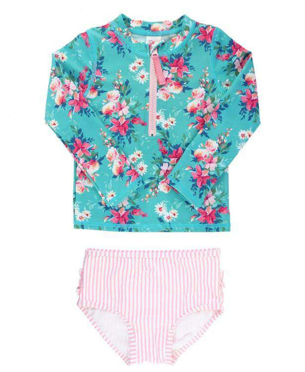 RuffleButts | Long Sleeve Zipper Rash Guard Bikini ~ Fancy Me Floral