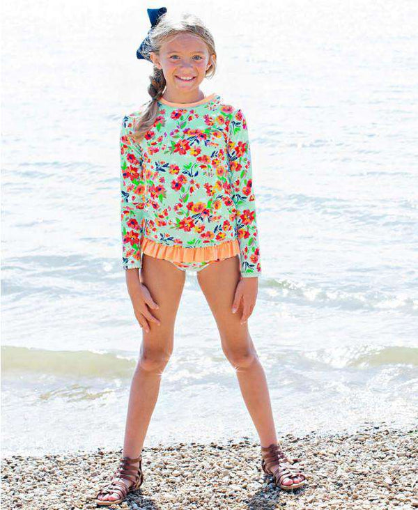 RuffleButts | Long Sleeve Zipper Rash Guard Bikini ~ Painted Flowers