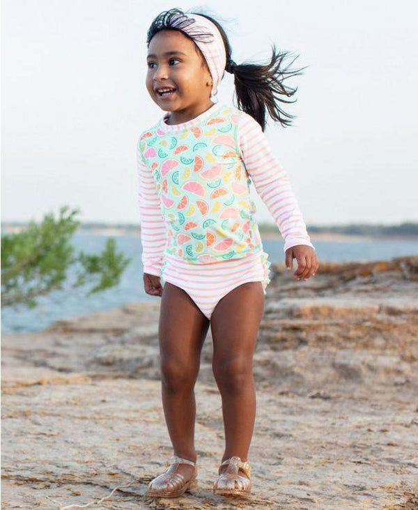 RuffleButts | Long Sleeve Rash Guard Bikini ~ Squeeze The Day