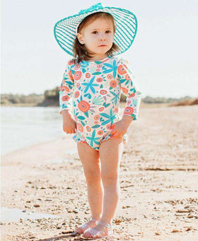 RuffleButts | One Piece Rash Guard ~ Seaside Floral