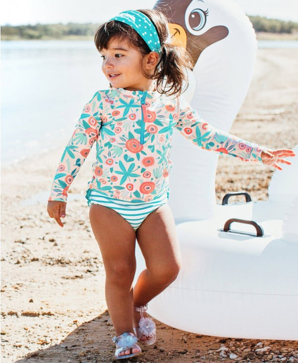 RuffleButts | Long Sleeve Zipper Rash Guard Bikini ~ Seaside Floral