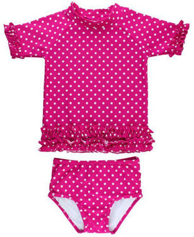 RuffleButts | Rash Guard Bikini ~ Berry Polka Dot Ruffled