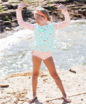 RuffleButts | Long Sleeve Rash Guard Bikini ~ Flamingo Beach