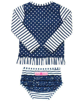 RuffleButts | Long Sleeve Rash Guard Bikini ~ Navy Striped Polka