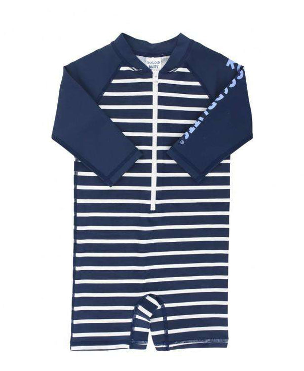 RuggedButts | One Piece Rash Guard ~ Navy Stripe / White Zipper