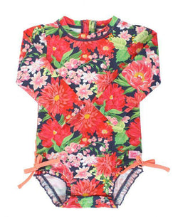 RuffleButts | One Piece Rash Guard ~ Sunset Garden
