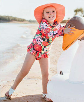 RuffleButts | Long Sleeve Zipper Rash Guard Bikini ~ Sunset Garden
