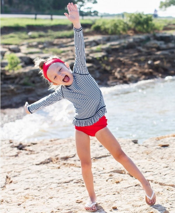RuffleButts | Long Sleeve Rash Guard Bikini ~ Navy Gingham