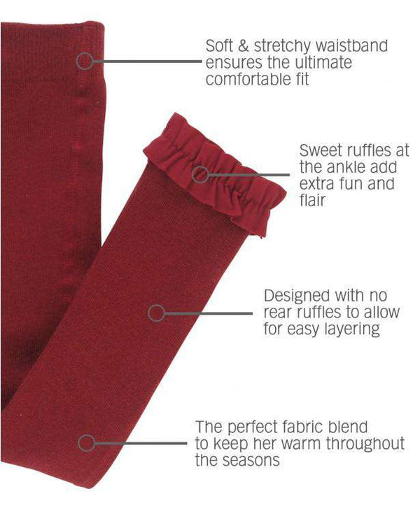 RuffleButts ~ Cranberry Footless Ruffle Tights