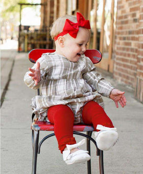 RuffleButts ~ Red Footless Ruffle Tights