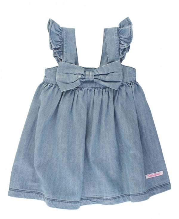 Ruffle Butts | Light Wash Denim Flutter Bow Dress