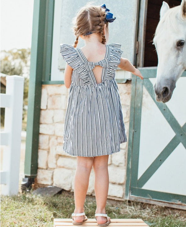 Ruffle Butts | Navy Stripe Ruffle Dress