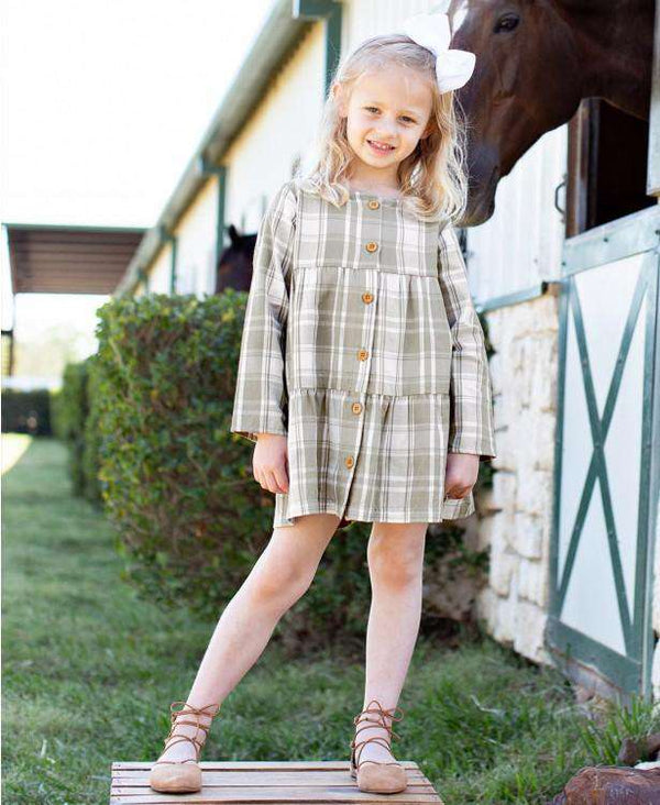 RuffleButts ~ Gray & White Plaid Tiered Babydoll Dress