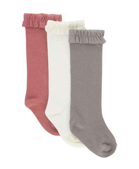RuffleButts ~  Knee High Socks 3-Pack Ivory, Mauve, Grey
